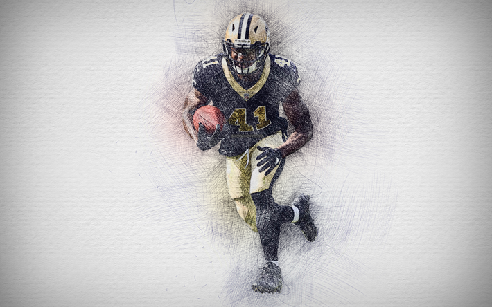 NFL Player Alvin Kamara Wallpaper in Action