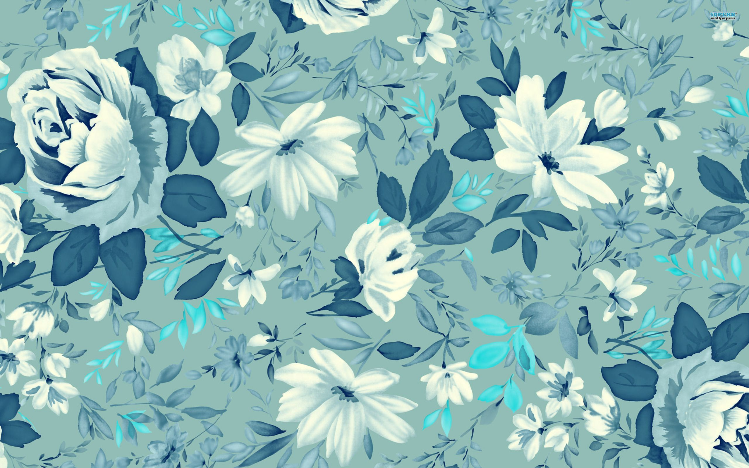 Blue Floral Wallpaper for the perfect for the modern interior decor