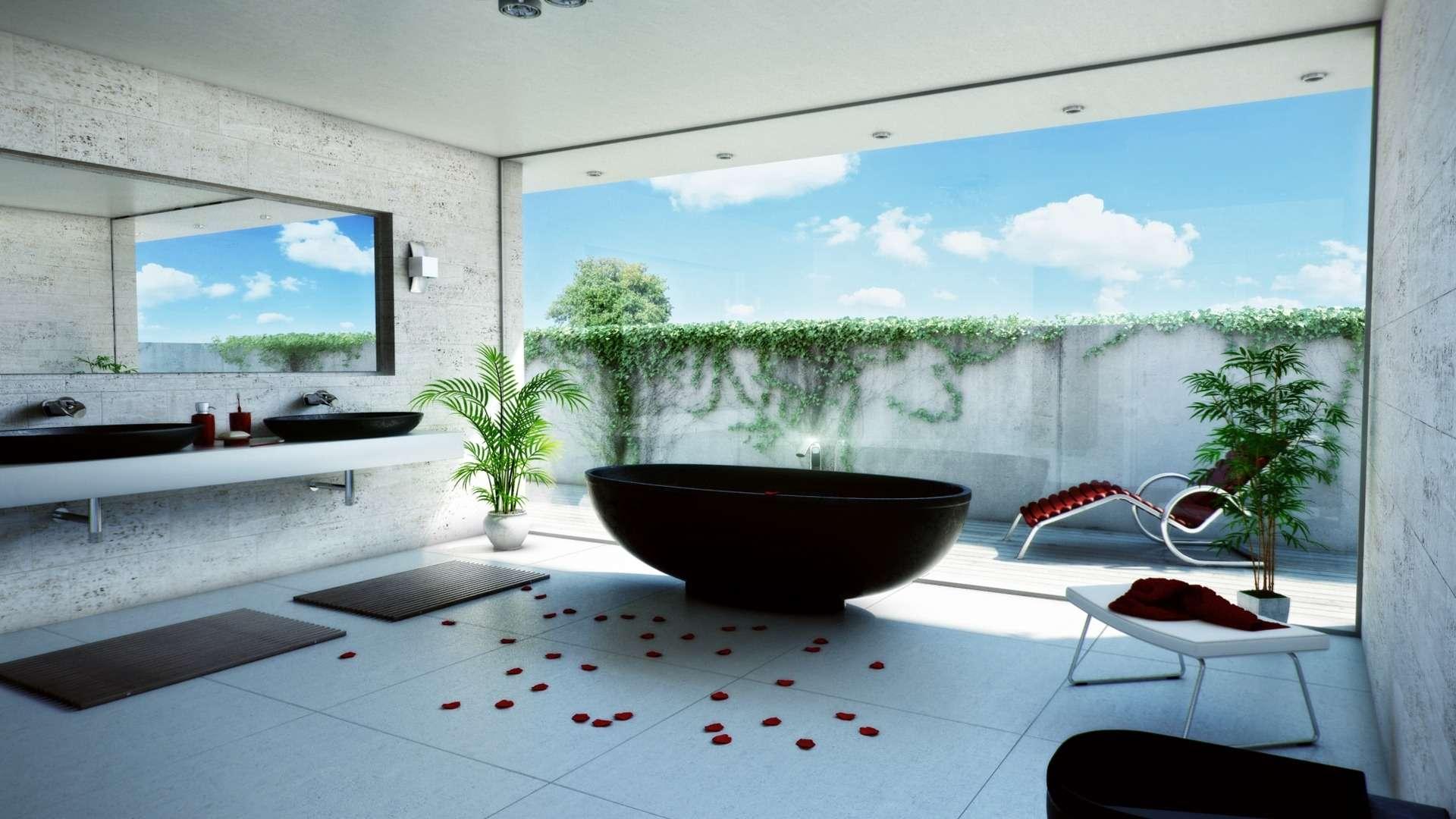 Modern Bathroom Wallpapers Decorations