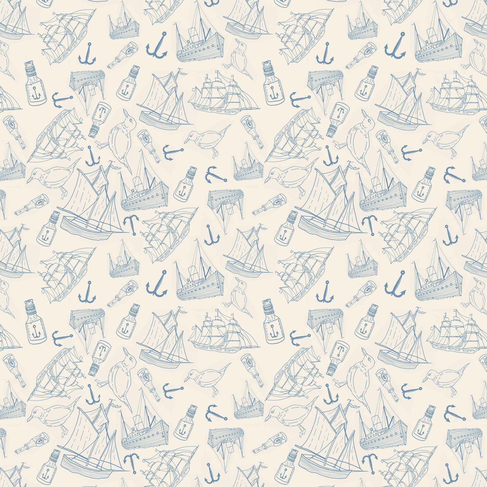 Nautical wallpaper – One More Fun Wall Art